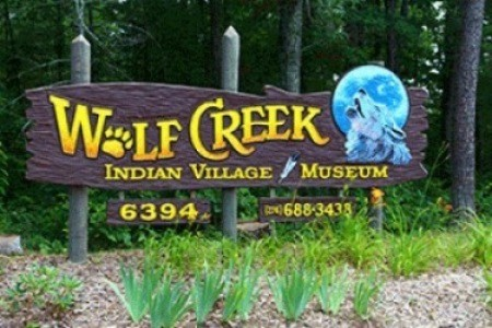Sign for Wolf Creek Indian Village