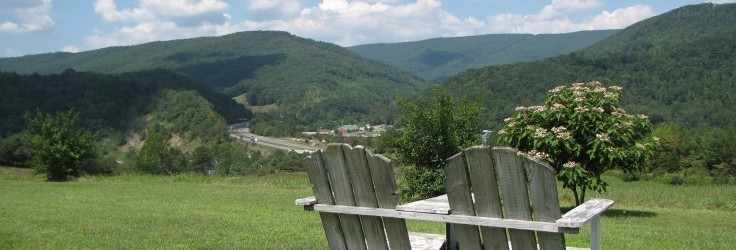 Scenic view of Bland County with a Bench